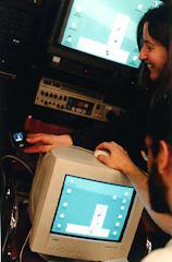 Sharon and Ben testing the mini-monitors