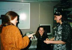 Maribeth, Sharon, and Maggie, having fun with plastics.