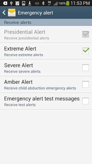 Emergency Alert settings on Android