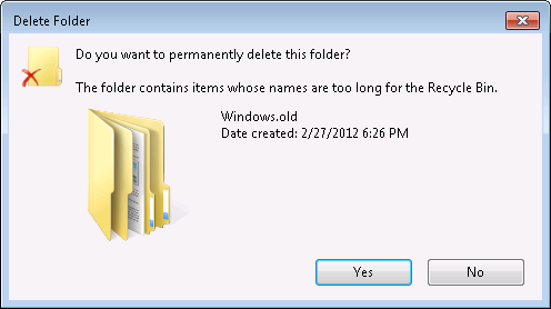 Do you want to permanently delete this folder?  The folder contains items whose names are too long for the Recycle Bin.