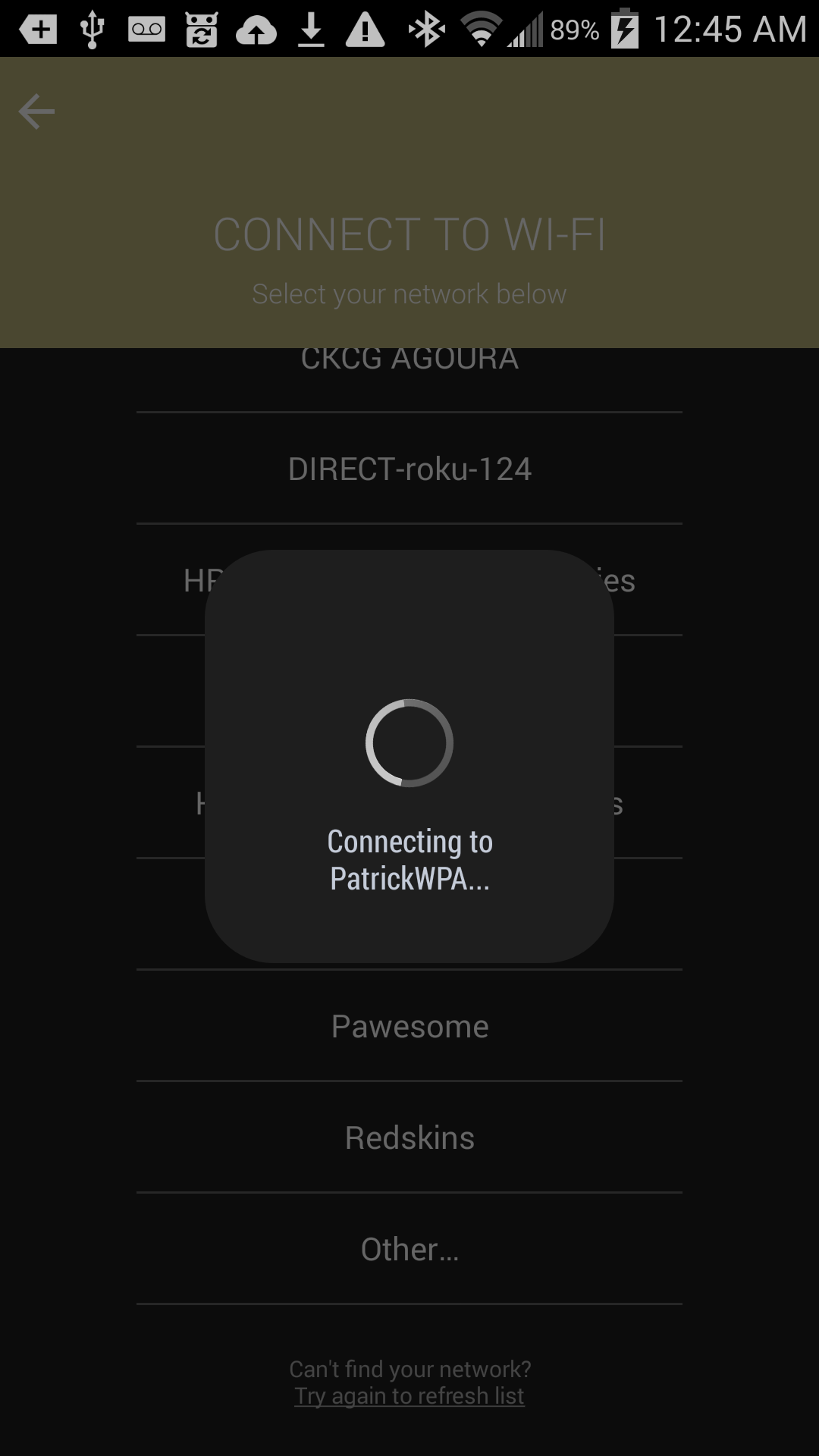 Connecting to PatrickWPA...