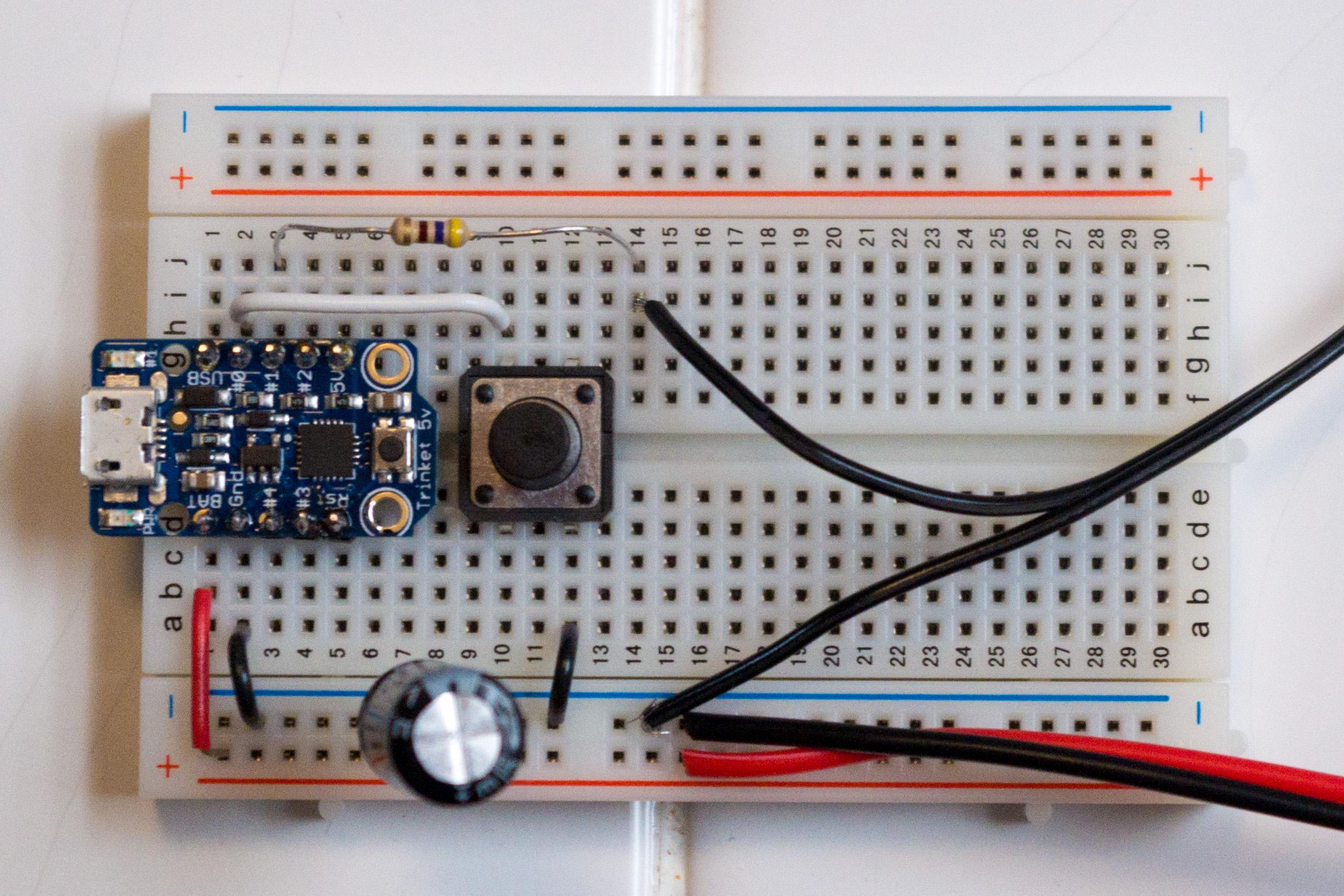 Trinket and other components on a breadboard