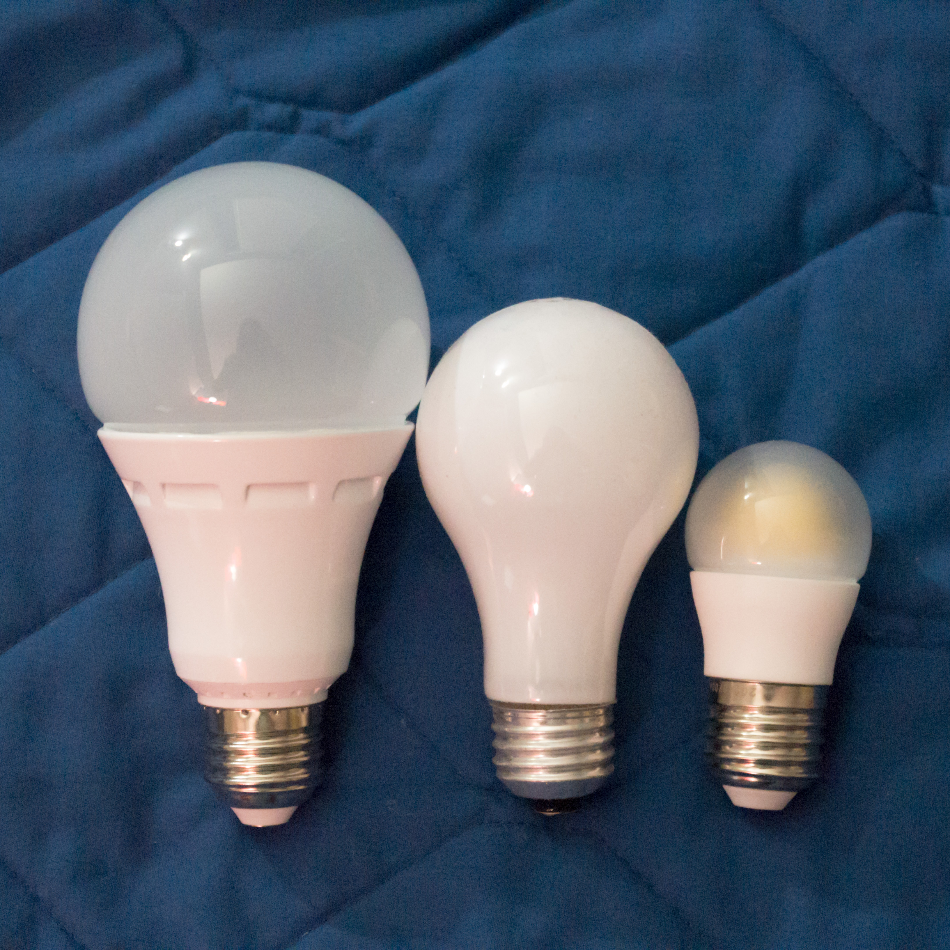 three light bulbs in descending order of size