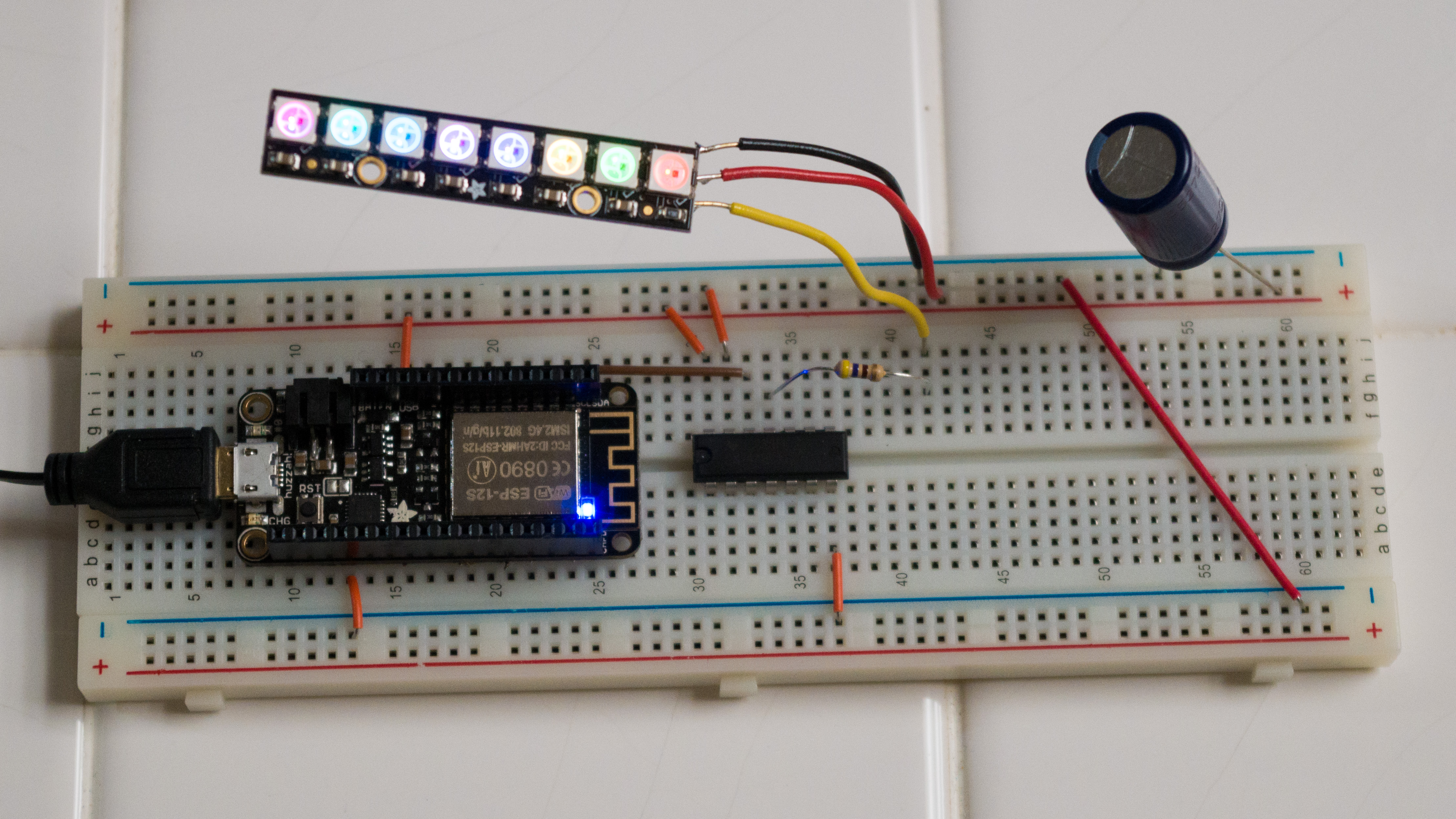 ESP8266 Feather hooked up to Neopixel stick