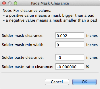 Pads Mask Clearance dialog
