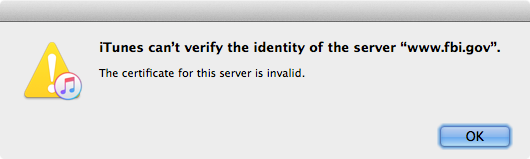 iTunes can't verify the identity of the server www.fbi.gov